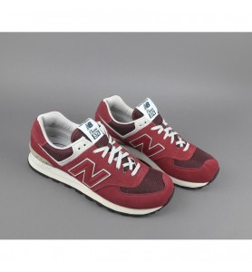 New Balance - Sneakers Uomo 574 Camoscio Tela Bordeaux